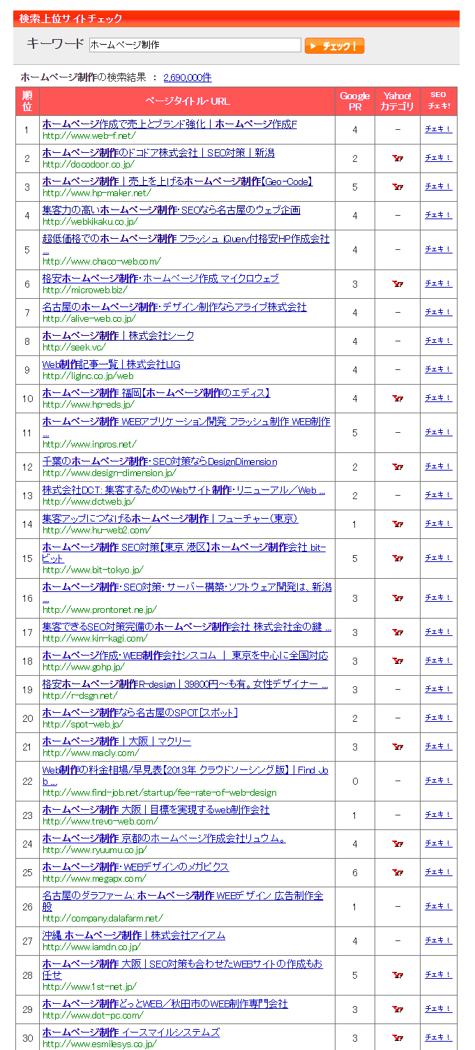 ホームページ制作の検索結果